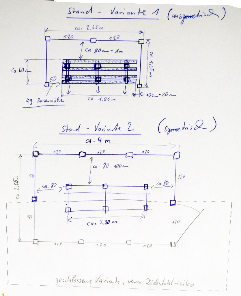 Bienenstand mit Rankgittern - Skizze (3 Varianten)
