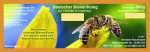 Etikett für 500g Honigglas (Bienenpatenschaften)